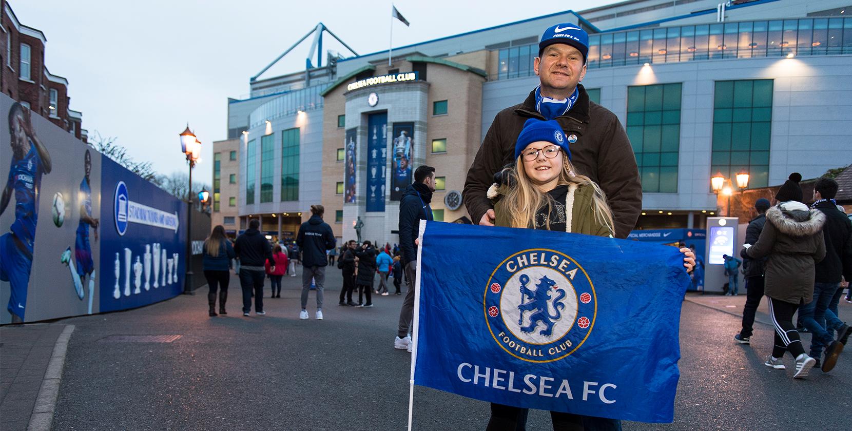 Adam and his daughter at Stamford Bridge